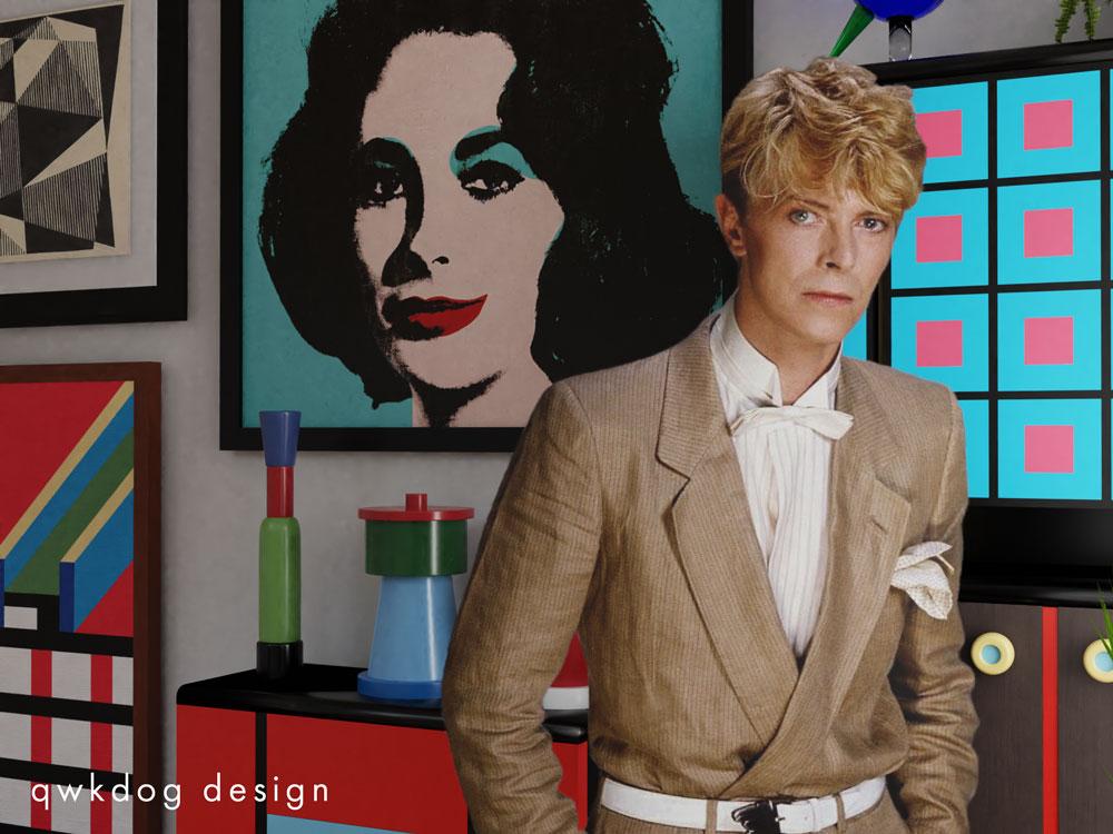 QwkDog 3d Memphis-Milano Scene David Bowie
