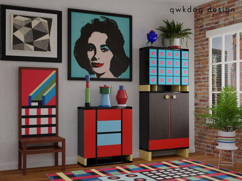 QwkDog 3D Memphis-Milano Warhol
