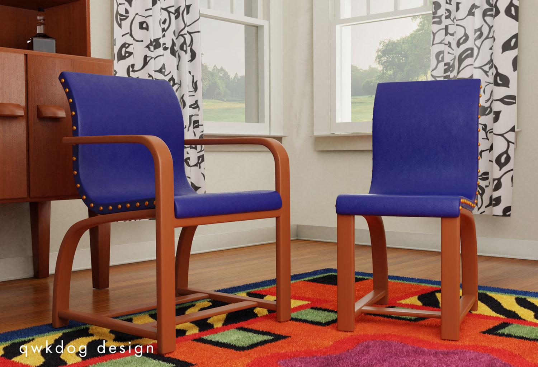 QwkDog 3D Heywood-Wakefield Rohde Scene - Chairs