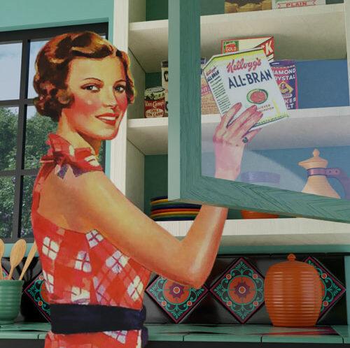 QwkDog 3D Vintage Kitchen Scene