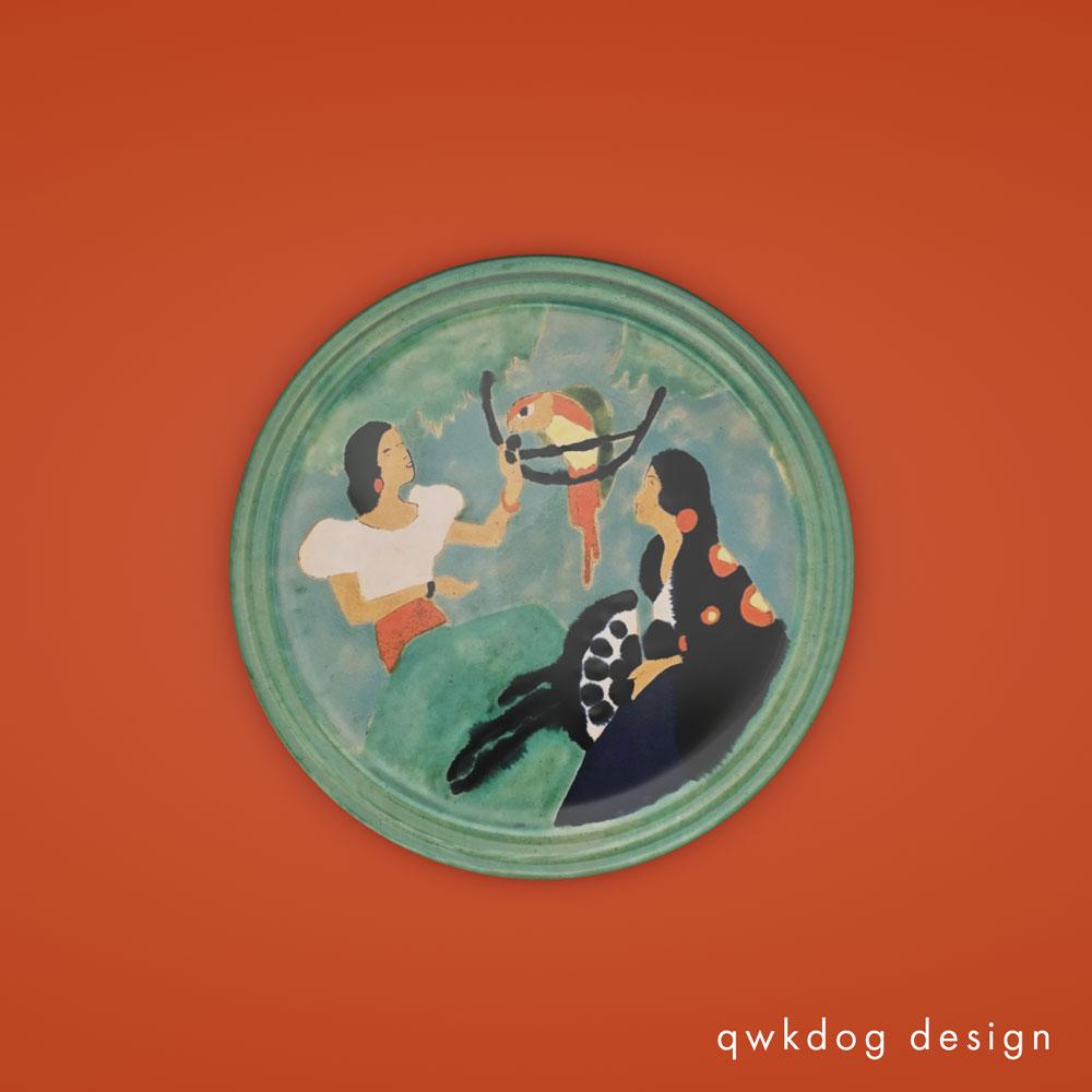 QwkDog 3D San Jose Pottery Women with Parrots