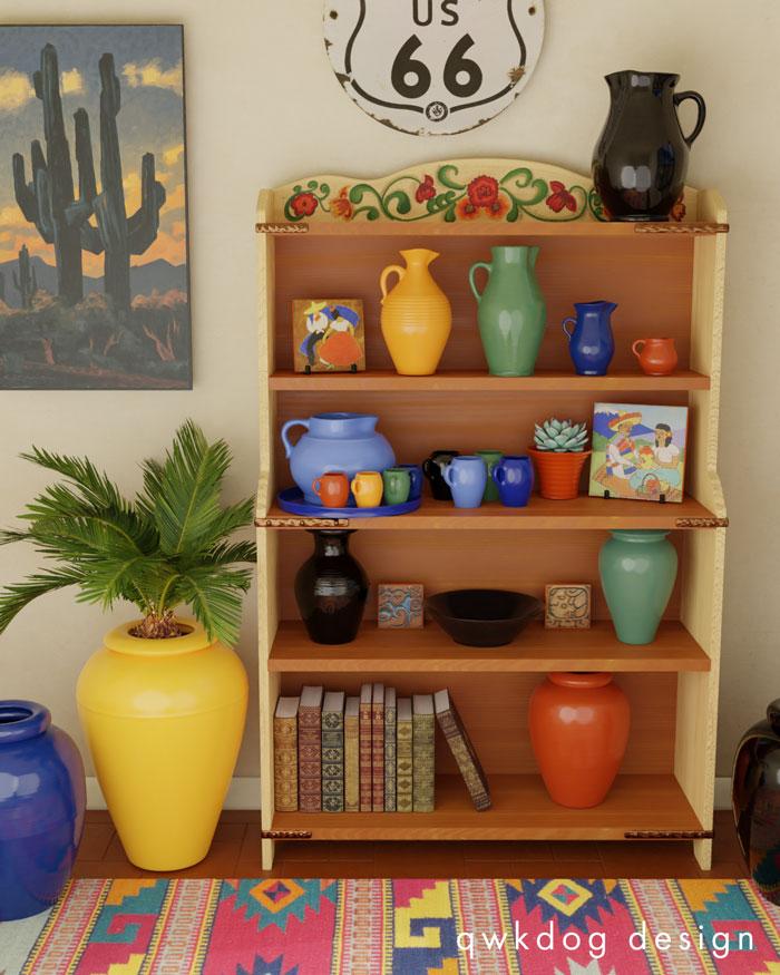 QwkDog 3D Bauer Pottery Monterey Bookcase