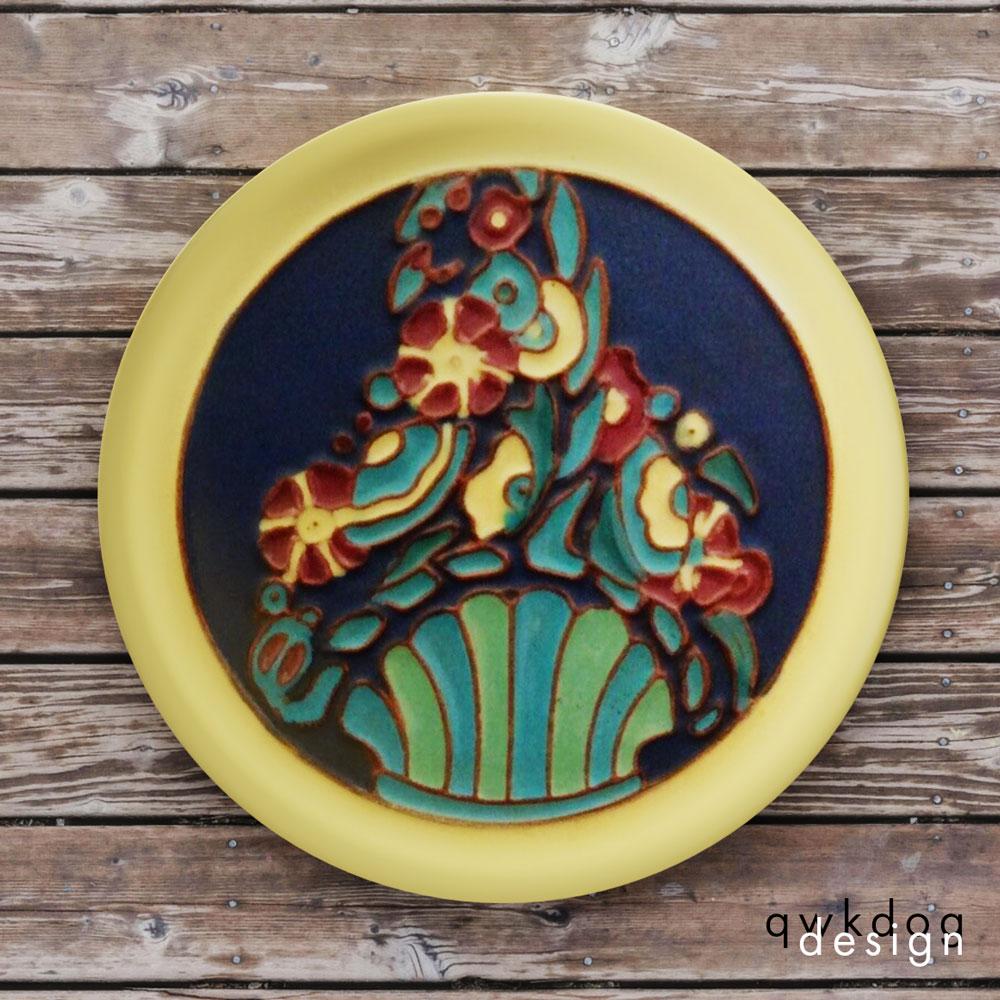 California Faience Tea Tile - Flower Basket