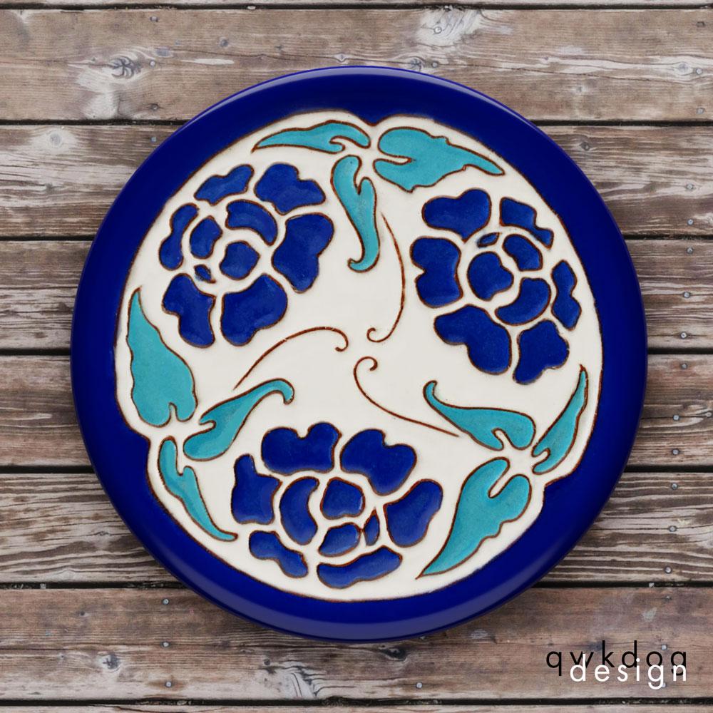 California Faience Tea Tile - Blue Flowers