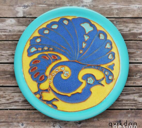 California Faience Tea Tile - Peacock
