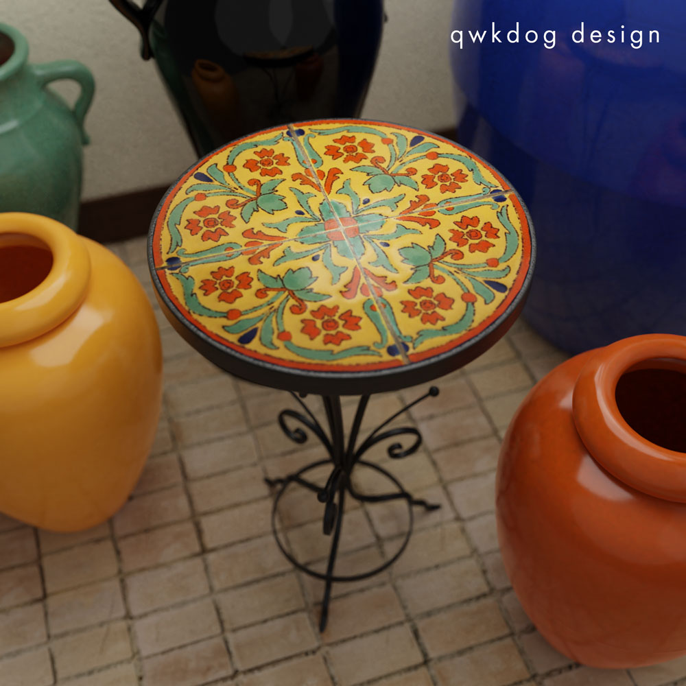 QwkDog 3D D&M Tile Table - Yellow Geometric