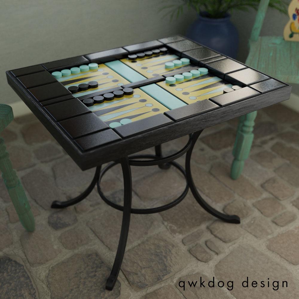 QwkDog 3D Catalina Island Pottery Backgammon Table Black