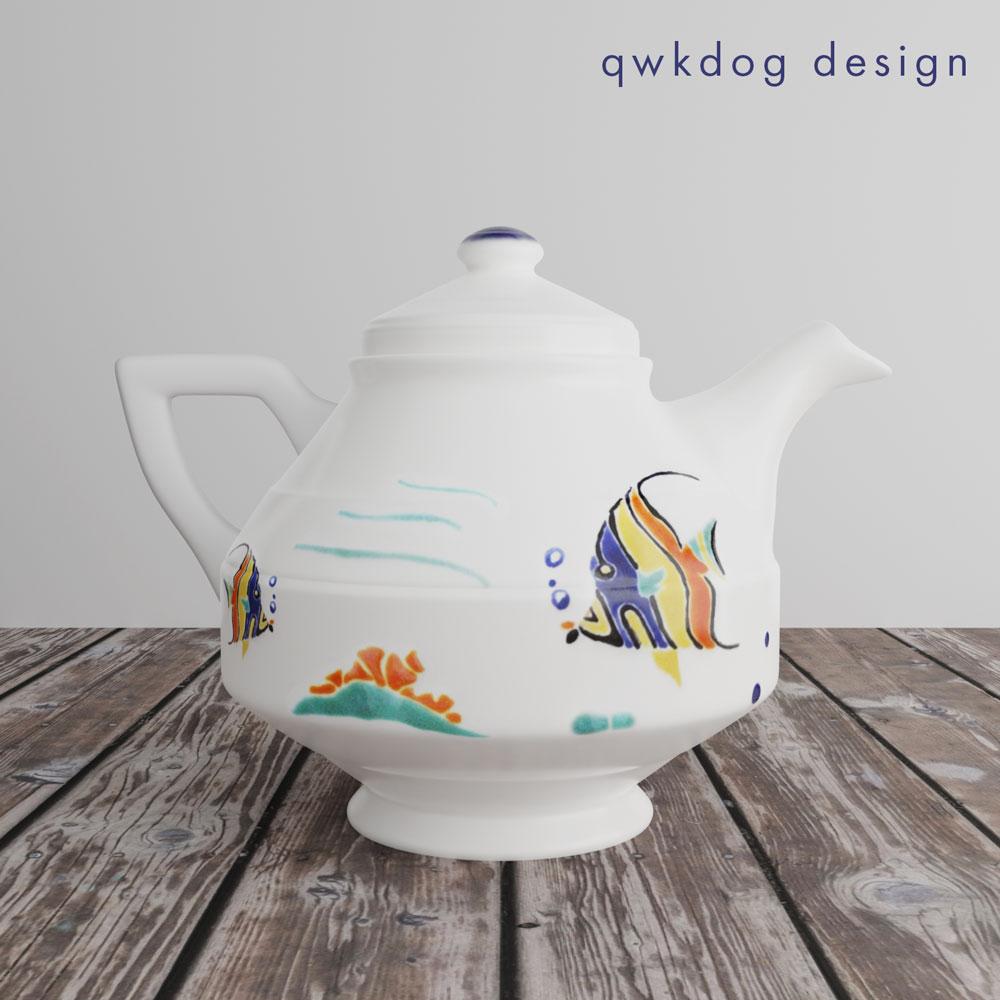 QwkDog 3D Vernon Kilns Harry Bird Tropical Fish Teapot