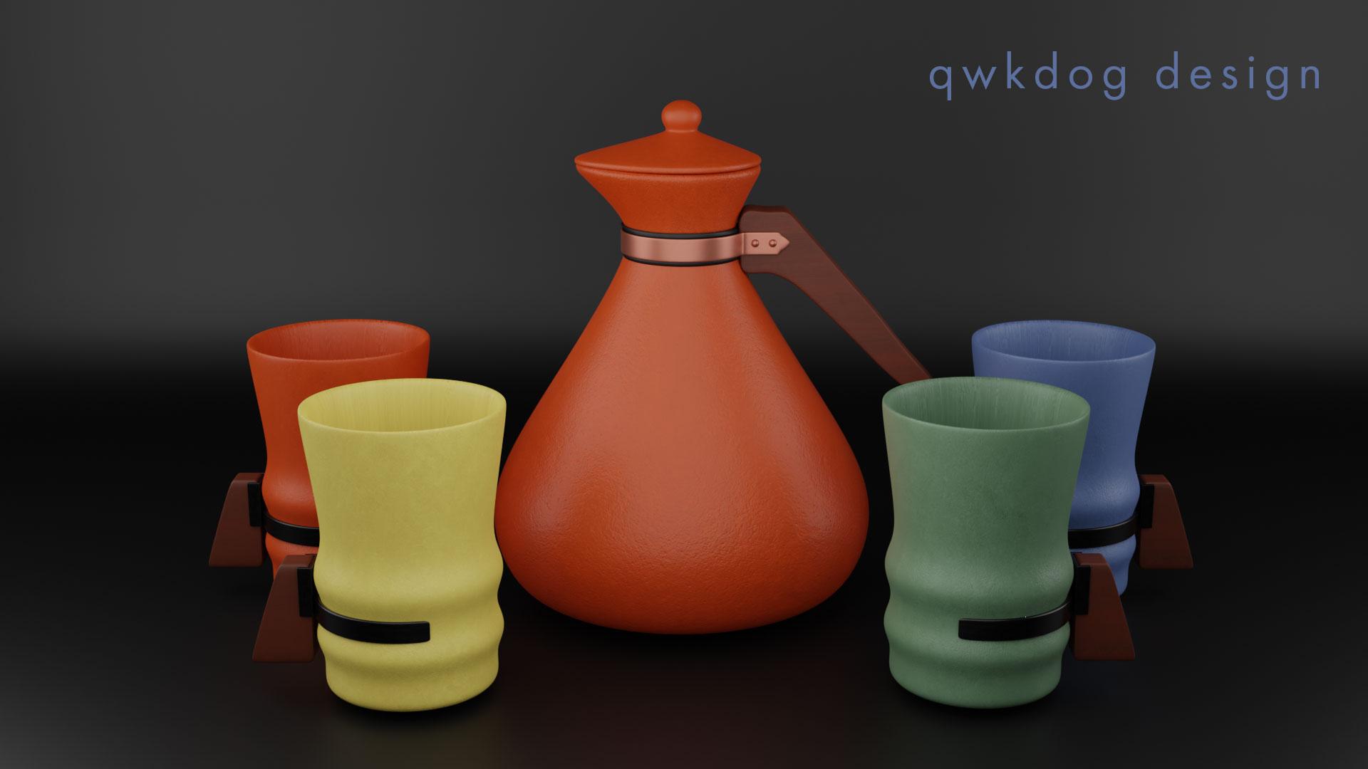QwkDog 3d Tudor Pottery Carafe Set