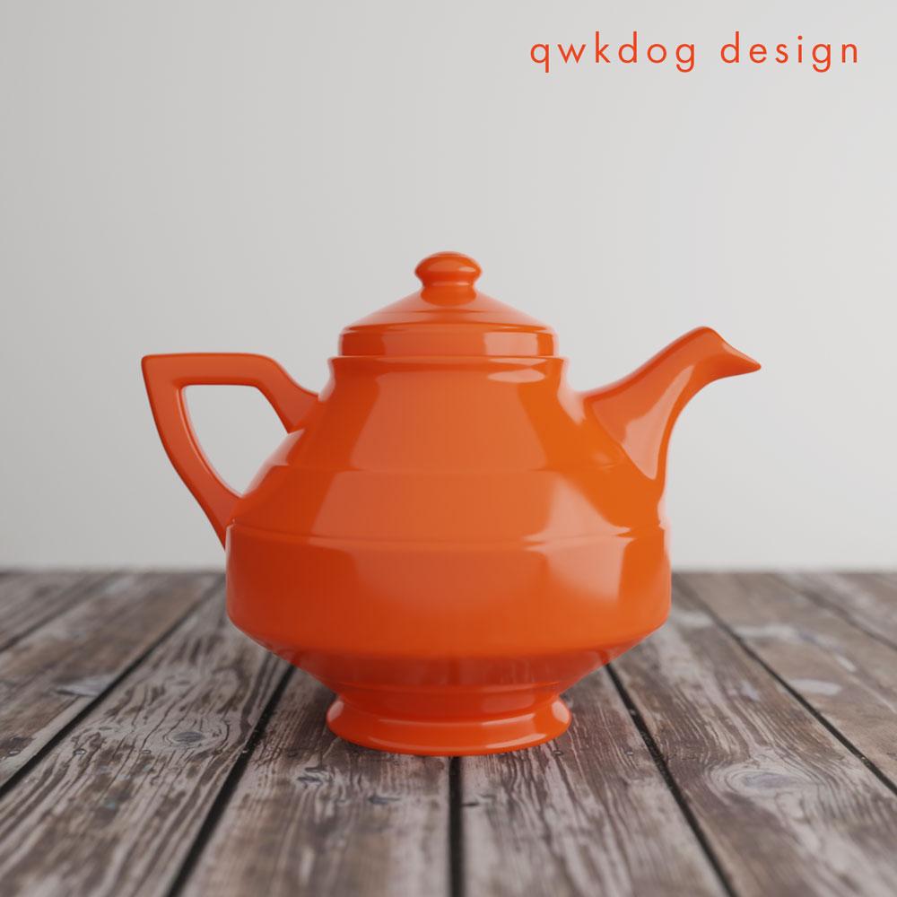 QwkDog 3D Vernon Kilns Early California Teapot