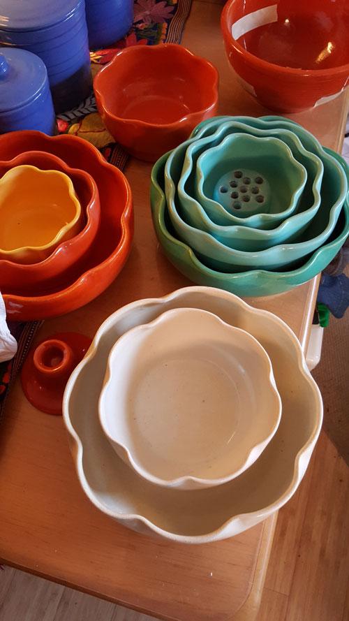 Garden City Pottery ruffled bowls