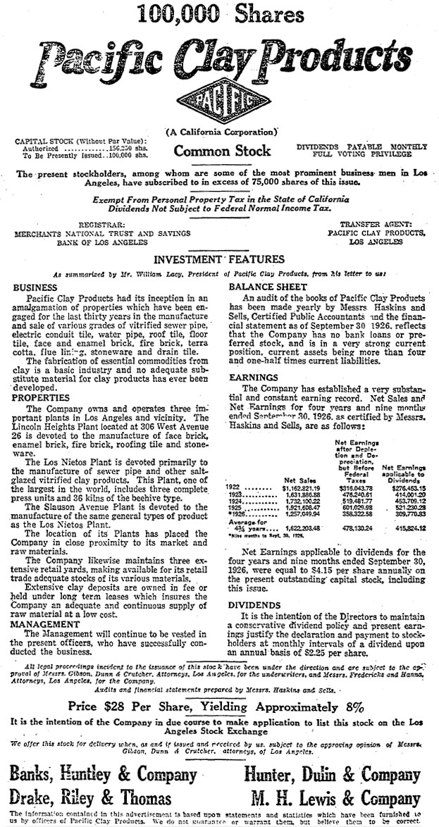 Pacific Clay Stock Offering 1926