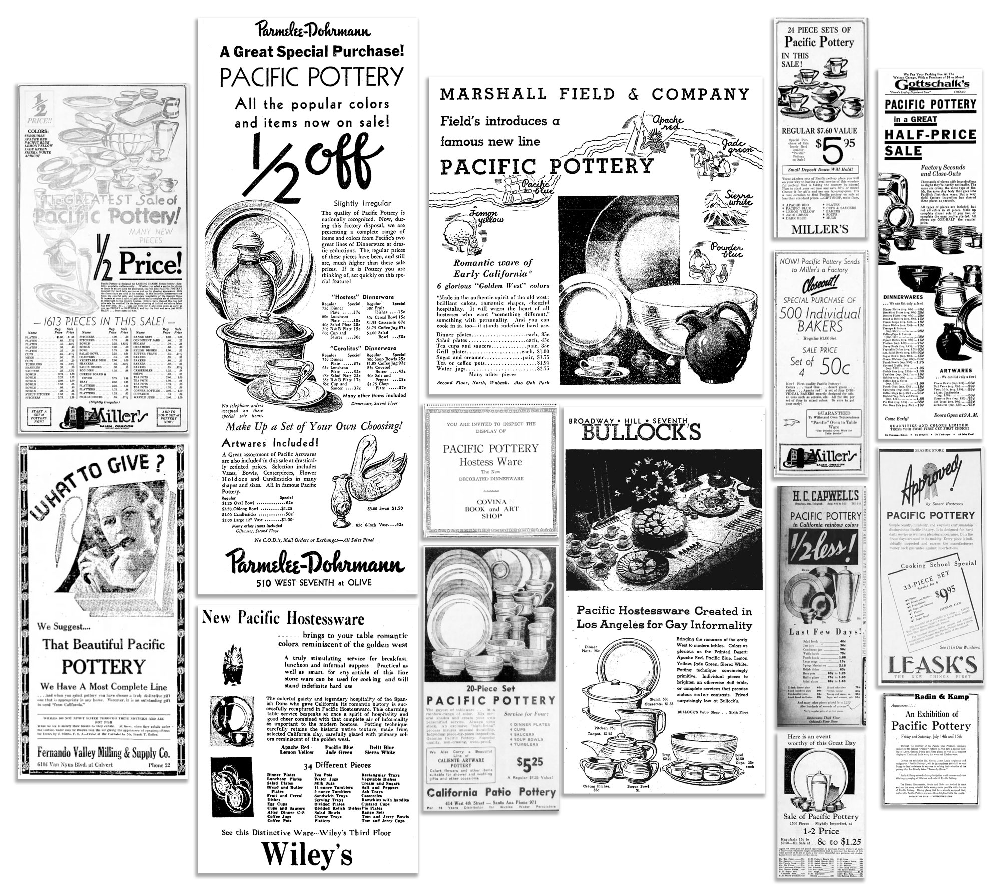 1930s Pacific Pottery Display Advertising