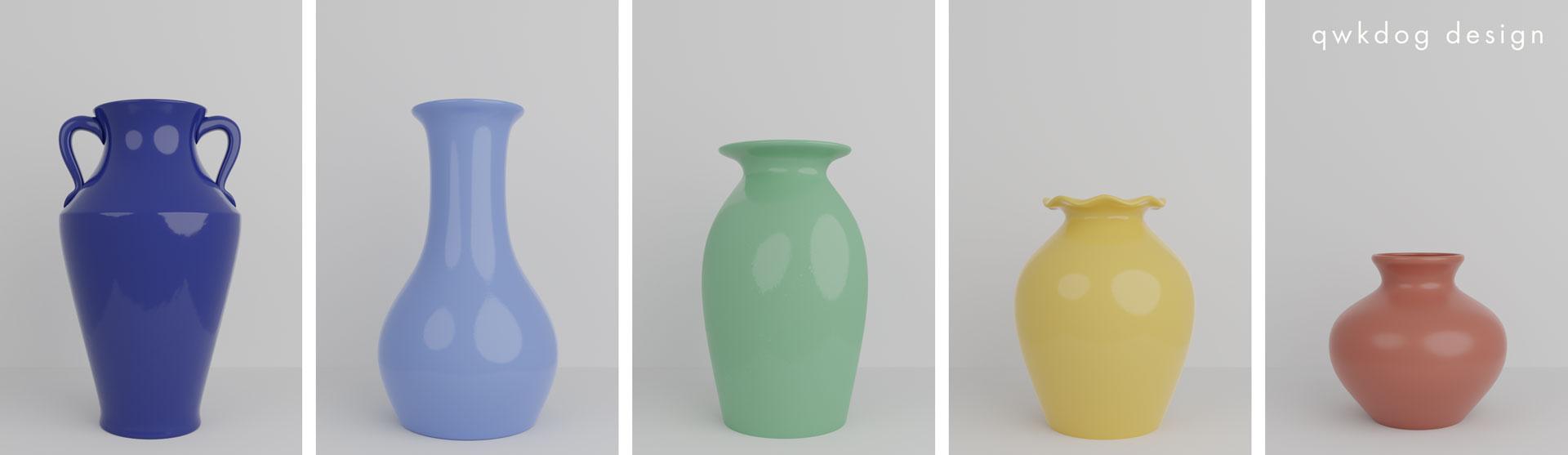 QwkDog 3D Pacific Pottery Artware Vases