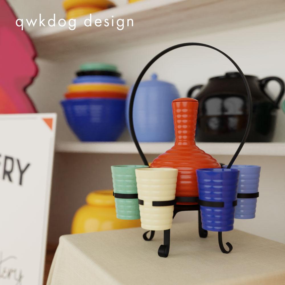 QwkDog 3D Bauer Pottery Carafe Set