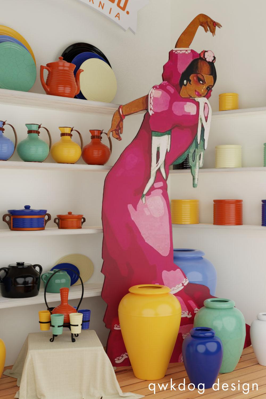 QwkDog 3D Bauer Pottery Window Gazing Senorita